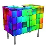Bilderwelten Waschbeckenunterschrank - 3D Würfel - Badschrank, Größe: 55cm x 60cm