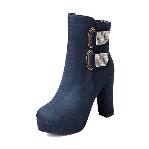 VogueZone009 Donna Cerniera Tacco Alto Pelle Di Mucca Chiodato Stivali con Studded Strass Azzurro