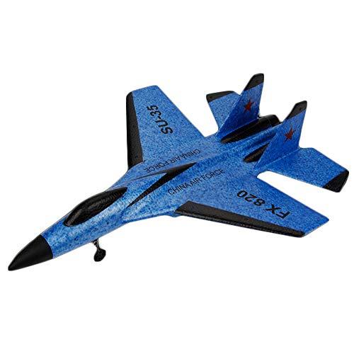 Jamicy Ferngesteuerte Flugzeuge,RC Segelflugzeug, SU-35 RC Fernbedienung Hubschrauber Flugzeug Segelflugzeug Flugzeug EPP Schaum 3.5CH 2.4G Spielzeug (Blau)