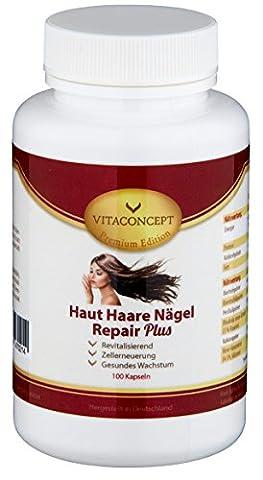 Haut Haare Nägel Repair Plus - 100 Kapseln - maximale Dosierung - Biotin, Selen, Bierhefe, Zink uvm. - revitalisierend - fördert ein gesundes Wachstum & die Zellerneuerung - made in Germany - NEU - Premium Edition von