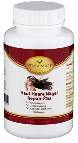 Haut Haare Nägel Repair Plus - 100 Kapseln - Biotin, Selen, Bierhefe, Zink uvm. - Made in Germany - NEU - Premium Edition von VITACONCEPT