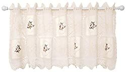 Today's Curtain Cottage Applique Crochet Embroidered Window Tier, 24-Inch, Ecru
