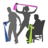 EXERCISE RESISTANCE BANDS - 2 Metre - Ultimate Keep Fit Equipment for Men Women Seniors Kids | Yoga Pilates Physical Therapy Stretch Power Pregnancy | Ideal for Hectic Lifestyles | Loop it for Legs Thigh Glutes Tricep | Exercize Workout Chart | SAFE LATEX FREE