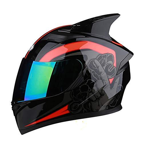 VEVE Motorrad Persönlichkeit Coole Vier Jahreszeiten Universal Integralhelm Bunte Doppelobjektiv Elektroauto Helm 54-65 cm Sicher, warm und modern (Size : XXXL)