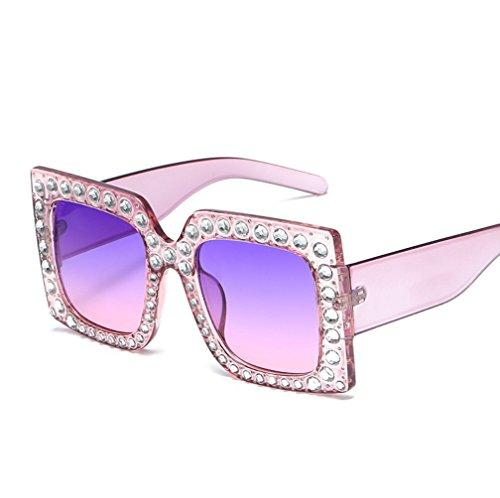 YANJING Women\'s Large Frame Sonnenbrille Personalisiert Diamond Sonnenbrille Damen Sonnenbrille ZYXCC (Farbe : Blue+Powder)