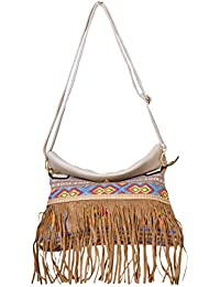 Beautiful Fringes Brown Color Sling Bag For Women & Girls By Bagris GE01001865