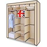 Funime Triple Canvas Wardrobe Cupboard Clothes Storage Solution with Hanging Rail Storage Shelves Large 150cm x 45cm x 175cm Beige