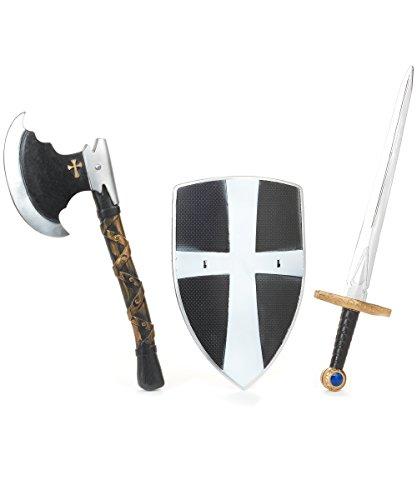 KULTFAKTOR GmbH Ritter Kinder Kostüm Set Schwert Schild schwarz-Silber - Silber Ritter Kinder Kostüm