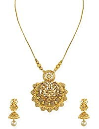 Zaveri Pearls Antique Gold Tone Goddess Temple Necklace Set For Women-ZPFK6748