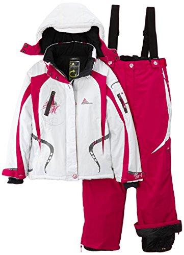 Peak Mountain Gagyss/nh - Completo da sci + cintura da neve, da bambina, bianco (Blanc/framboise), 10 anni (FR: 10)