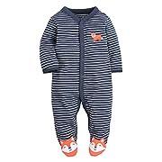 CARETOO Unisex Baby Schlafstrampler Bärchen, Baumwolle Pyjamas Cartoon Königsblau, 0-3 Monate (Herstellergröße 3M)
