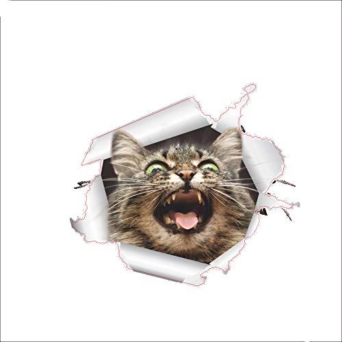Ouken 7 * 7 Zoll Wandtattoo 3D Katze gebrochen dekorative Wandbild abnehmbare Wandtattoo, Stil 2 (Halloween Einfach Handwerk Kindergarten)