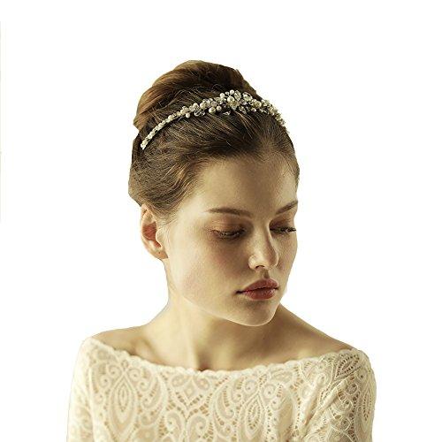 Göttin Silber Kristall Glas Haarband Tiara–Brautschmuck Hochzeit Perlen Kopfbedeckung (Gatsby Ideen Girl Kostüm)