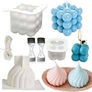 Fegishilly 3 DIY Bubble Candle Moulds, Silicone Candle Molds, 3D Geometric Rubik Cube Mold, Onion Soy Candle M