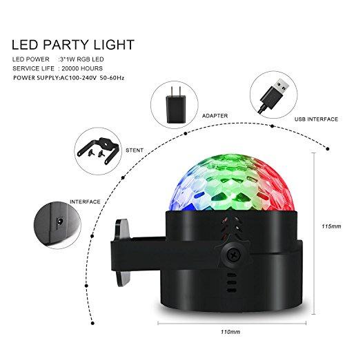 AOMEES Discokugel Party Disco Licht Musik Lichteffekt LED mit USB ...
