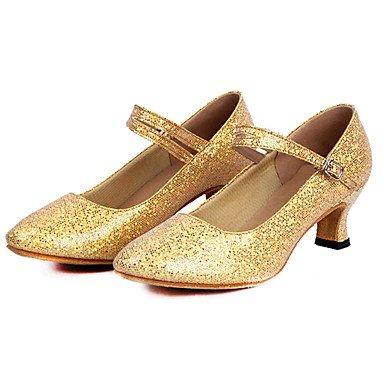 Ruhe @ Damen Latein Tanzschuhe funkelnden Glitter/Pailletten Low Heel Blau/Pink/Rot/Silber/Gold Silber