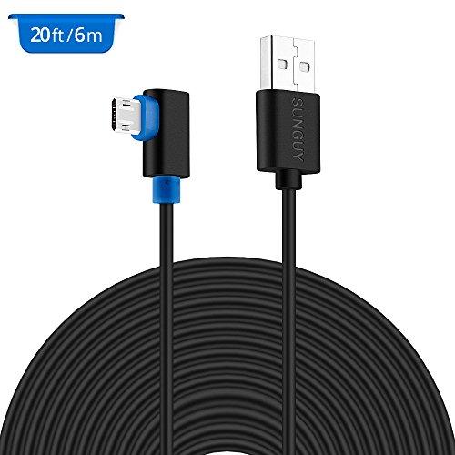 20FT USB-Stromkabel, SUNGUY rechtwinklig USB zu Micro USB-Verlängerungskabel für YI Dome-Kamera, Nest-Cam, Arlo Q-Kamera, Dropcam, Furbo-Hundekamera, Amazon Cloud-Cam, Echo Dot und andere schwarz