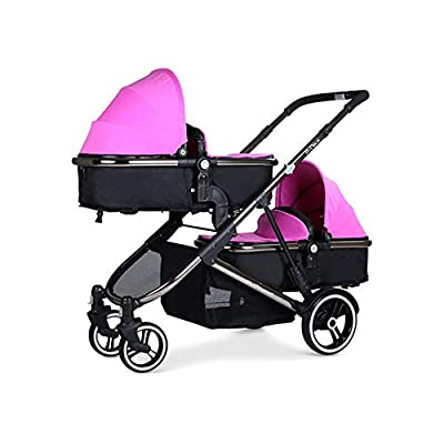 MYRCLMY Baby Strollers Twin Baby Strollers for Boys And Girls with Adjustable Ultralight Portable Folding Backrest Push Handle Double Trolley Jogging Four-Wheel Four Seasons Universal,Pink