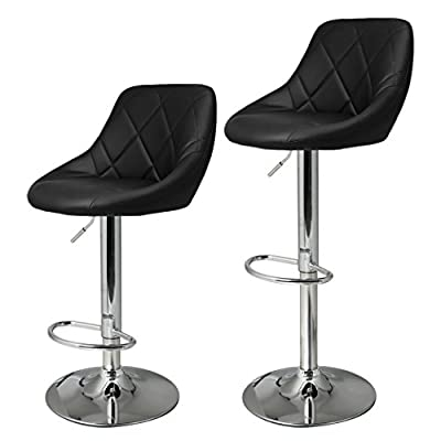 HOMDOX Bar Chairs, Adjustable Synthetic Leather Swivel Bar Stool Set (Black) - cheap UK light shop.