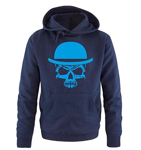 Comedy Shirts - Skull Moustache Style - Uomo Hoodie cappuccio sweater - taglia S-XXL vari colori blu navy / blu