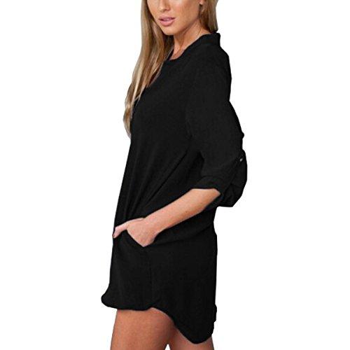 Minetom Femme Sexy Col V Chemiser Casual Mousseline En Soie Shirt Longues Eté Plage Blouse Noir