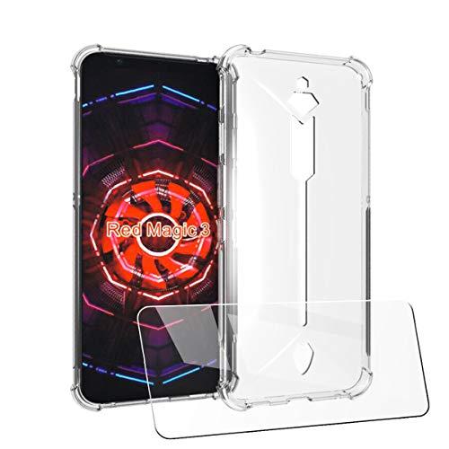LJSM Hülle für ZTE Nubia Red Magic 3 + [2 Stück] Panzerglas- Dünne Schutzhülle Case Crystal Weiche Durchsichtige Rückschale mit TPU Stoßfeste Transparente Handyhülle 6.65