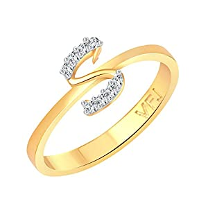 "Vighnaharta Initial ""S"" Letter (CZ) Gold and Rhodium Plated Alloy Ring for Women and Girls – [VFJ1191FRG]"