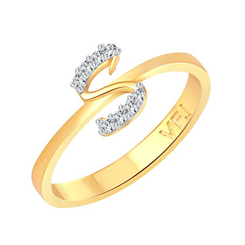 """Vighnaharta initial """"S"""" Letter (CZ) Gold and Rhodium Plated Alloy Ring for Women and Girls – [VFJ1191FRG]"""