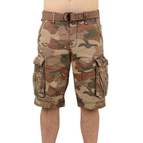 Jet Lag Herren Cargo Shorts Take off 8 (18) kurze Hose mit großen Seitentaschen brown camo W34