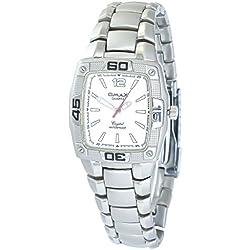 Omax Men's Quartz Watch White Silver Analogue Metal Wristwatch