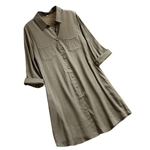 VEMOW Herbst Frühling Sommer Elegante Damen Frauen Stehkragen Langarm Casual Täglichen Party Strand Urlaub Lose Tunika Tops T-Shirt Bluse(Y2-c-Armeegrün, EU-40/CN-M)