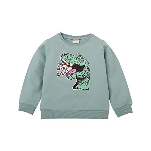 Clacce Teen Kid Jungen Mädchen Cartoon Dinosaurier Brief Tops Sweatshirt Outwear Pullover