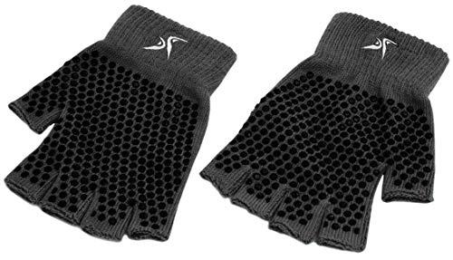 Prosource Yoga-Handschuhe, rutschfest, fingerlos, Einheitsgröße, Herren, ProSource ps-2620-yg-black Grippy Yoga Gloves Black, schwarz -