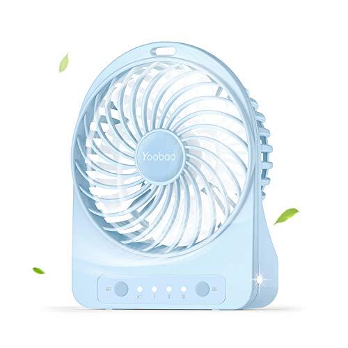 Yoobao Mini Ventilator, USB Ventilator Klein Lüfter mit 3 Einstellbare Geschwindigkeiten, 3300mAh aufladbarer Batterie, LED Licht für Zuhause, Reisen, Picknick und Outdoor-Aktivitäten (Blau) (Led-licht-lithium-knopf-batterie)