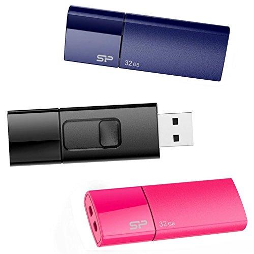 Bx 3 (3 Stück) Ultima U05 Cap-less USB-Stick/Flash Laufwerk 2.0 für Windows / Mac - Blau / Pink / Schwarz ()