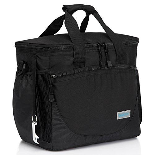 VASCHY Große Kühltasche, 30 Kanister 23 Liter Isolierte Kühlbox Lunch Tasche Auslaufsicheres Lunchpaket Multi-Taschen Picknick-Tasche mit Bier Opener für Reisen, Camping, Strand Schwarz