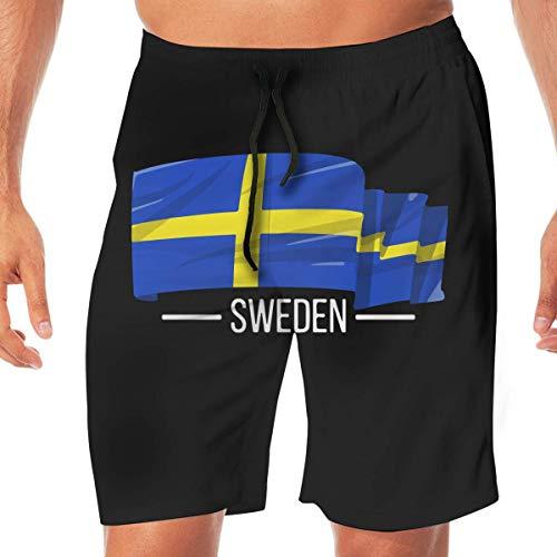 Men Swim Suits I Love Sweden Swedish Flag Quick Dry Beach Board Short with Pocket,XXL -