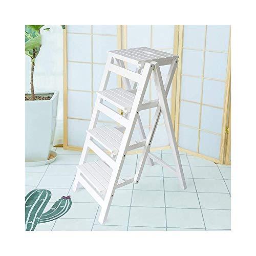 TLTLTD Klappbare Trittleiter Aus Holz - 4 Stufen, Loft-Treppe Für Zu Hause, Büro-Schlafzimmer Einfacher 4-Fuß-Trittleiter (Farbe : Weiß) -