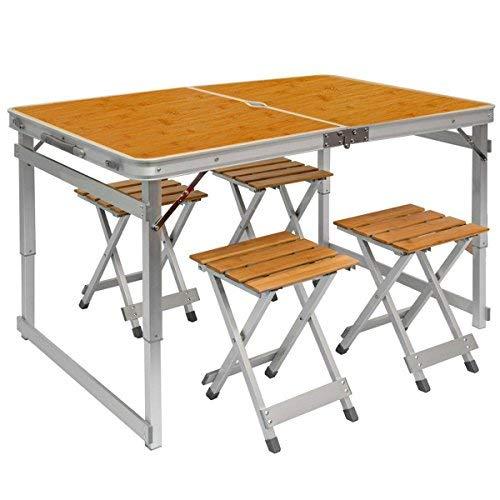 Table de Camping Portable | Table + 4 Tabourets | Pliante en Mallette | Table de pique-nique | Réglable en Hauteur |Aluminium et bois de Bambou | env 110x70cm