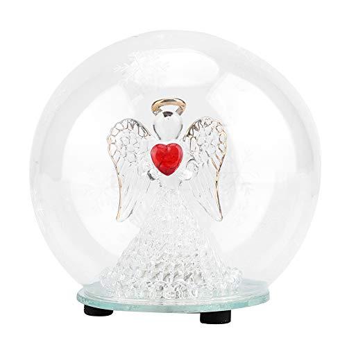 Angelo di natale palla di vetro sfera di cristallo 7 tipi di lampada led effetto luminoso con angelo, albero vine, cuore rosso, foglia verde per decorazione ideale regalo di compleanno natale(#1)