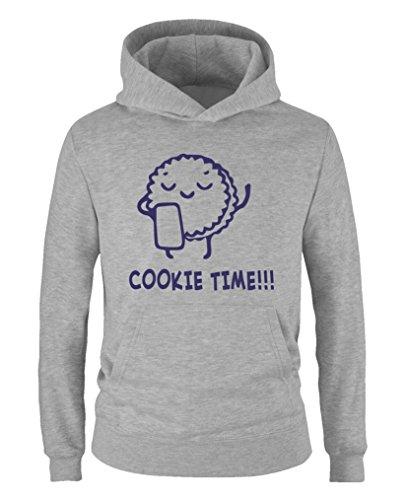Comedy Shirts - Cookie time! Keks - Mädchen Hoodie - Grau / Lila Gr. - Wanderer Cookies