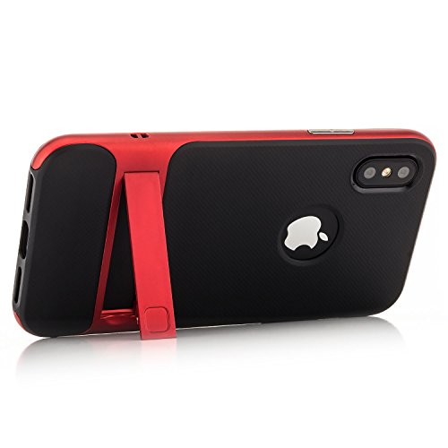 Coque iPhone X Housse de Protection [Saxonia] Silicone Case Hybride TPU Slim Cover + Coque Bumper [Anti Choc] avec Stand Rose Rouge