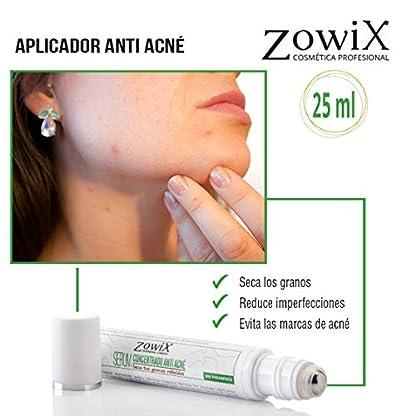 ZOWIX Serum Aplicador Antiacne. Tratamiento intensivo contra el acné facial. Seca granos y espinillas. Reduce los puntos negros. Roll On 25 ml.