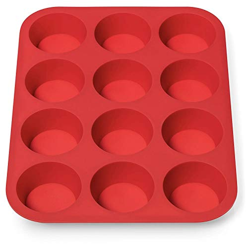Avana Muffinblech aus Silikon für 12 Muffins BPA-frei Antihaftbeschichtung Muffin Form Cupcake Backblech Muffinform Brownies Backform Muffinbackblech Rot