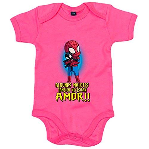 Body bebé Spiderman algunos malotes también necesitan amor - Rosa, 1