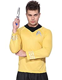 Star Trek Tenue costume deguisement homme adulte chemise haut sweat T shirt capitaine Kirk Spock Scotty XXL jaune