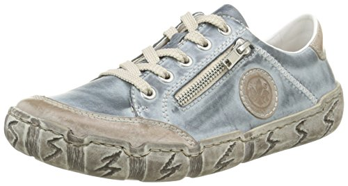 Rieker L0314 Women Low-Top, Damen Sneakers, Blau (steel/royal/42), 39 EU