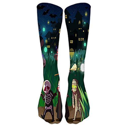 ZZBO Happy Halloween 3D Gedruckte Lange Socken Hohe Socks Kürbis Laterne Bat Hexe Skelett Muster Kniehohe Strümpfe Festival Cosplay Party Halloween Kostüme Lässige Socken für Frauen Mädchen (Baby Tutti Frutti Kostüm)