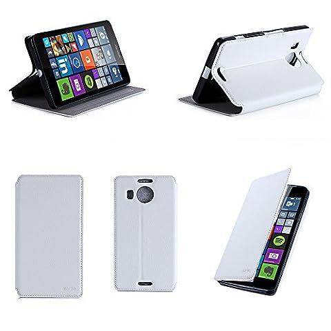 Etui luxe Microsoft Lumia 950 XL 4G/LTE (ex Nokia) Dual Sim blanc Ultra Slim Cuir Style avec stand - Housse Folio Flip Cover coque de protection Microsoft 950 XL blanche 5.7 pouces - Accessoire XEPTIO case