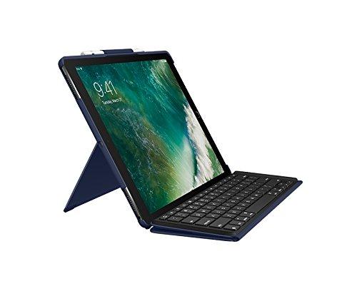 Logitech Slim Combo mit abnehmbarer Tastatur und Smart Connector (für iPad Pro 12,9 Zoll (1. und 2. Generation), Deutsches Tastatur Layout) blau Apple Combo